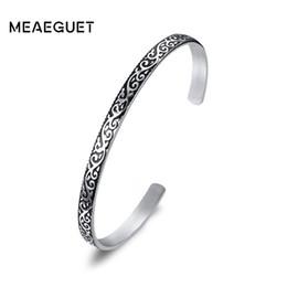 $enCountryForm.capitalKeyWord NZ - Meaeguet Vintage Silver Color Stainless Steel Flower Totem Open Bangle Bracelet for Women Elegant Pattern Pulseira 4.5MM Wide