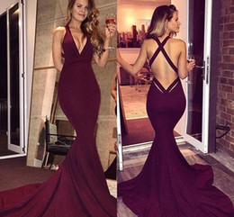 Simple Burgundy Prom Dresses 2018 Sexy Mermaid Backless Sleeveless Sweep Train Long Party Dresses Evening Gowns Formal Wear