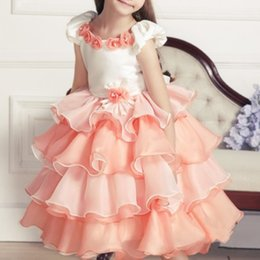layered wedding dress sleeves Australia - Summer Style Tulle Girl Dress Sleeveless Mid-Calf Layered Princess Party Dresses Lovely Sweet Wedding clothes