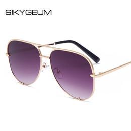 2d2bec96060d SIKYGEUM 2018 Fashion Oversized Mirrored Women Sunglasses Men Retro Square  Pilot Rivet Metal New Sun Glasses Ladies UV400 S0332
