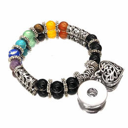 Black Button eyes online shopping - Hot Sale Colorful Natural Stone Turquoise mm Snap Button Charms Bracelets Bangle For Women Tiger Eyes Agates Beaded Yoga