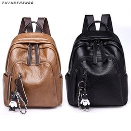brown bear backpack 2019 - THINKTHENDO Fashion Women Contrast Zipper Soft PU Leather Backpack Girls Casual Shoulder Shoolbag with Cute Bear Pendant