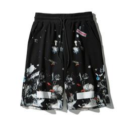 Venta al por mayor de 18SS estrella blanca fuegos artificiales cortos marea de verano marca pareja pantalones cortos hip hop calle algodón fuera de tendencia hombres pantalones cortos