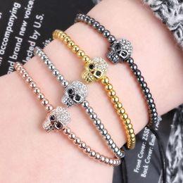 $enCountryForm.capitalKeyWord NZ - 2018 New Unisex Gothic Skull Bracelet Hip-hop Punk Skeleton Hand-Woven Leather Cord Rope Wrap Bangle Bracelets Halloween Jewelry