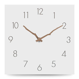 Discount wall watch silent - Large Wooden Wall Clock Simple Modern Design Europe Silent Clocks Square MDF Wood Hanging Wall Watch Home Decor 12 Inch