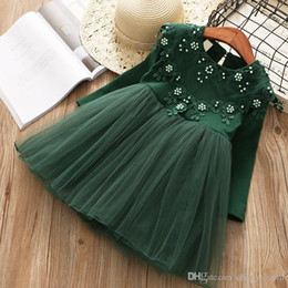 kids princess dress pearl lace Australia - Girls pearl lace crochet dress autumn new children beaded long sleeve tulle tutu dress kids princess dress pink green girls dresses A9880