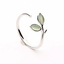 China 925 Sterling Silver Ring Green Opal Leaves Buds Open Rings For Women High Quality Creative Fashion Jewelry cheap bud band suppliers
