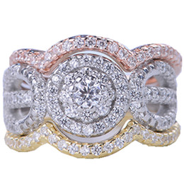 China New Luxury Sterling 925 Silver 3 Rounds Ring Set 3A CZ Women Crystal Wedding Rings Classic Engagement Rings Jewelry Wholsale Gifts cheap classic jewelry suppliers