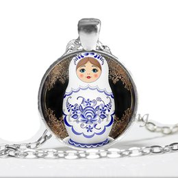 $enCountryForm.capitalKeyWord UK - NS-00737 Tradition Russian Doll Picture Pendant Necklaces Women's Jewelry Vintage Chain Glass Cabochon Necklace Wholesale