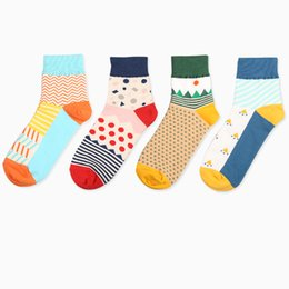 Discount funny christmas socks - Korean Fresh Cute Art Cartoon Cotton Women Couple Socks Funny Harajuku Sokken Christmas Calcetines male Female Skarpet