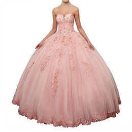 Sweethearts Ball Australia - 2018 Latest Pink Quinceanera Dress Sweetheart Lace Crystals Beading Tulle 16 Years Girl Party Vestidos Ball Gown Corset Back