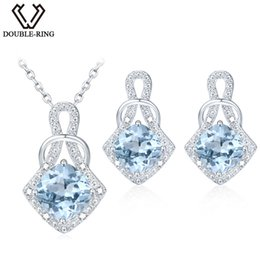 Discount r bracelet - DOUBLE-R Natrual Blue Topaz Earrings Pendant Necklace Jewelry Sets 925 Sterling Silver Gemstone Brand fine Jewelry for w