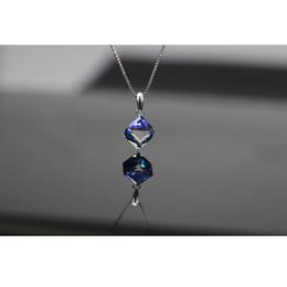 $enCountryForm.capitalKeyWord Australia - Austrian crystal necklace Aurora Rubik's cube elegant pendant clavicle chain girl jewelry