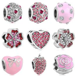 2018 nouvelle livraison gratuite européenne 1pc argent rose coeur rond fleur bow fraise diy perle fit pandora bracelet à breloques D045 en Solde