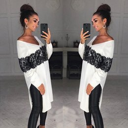 $enCountryForm.capitalKeyWord NZ - Spring White Cotton Black Lace Applique Fashion Long Women T Shirts 2018 Sexy Long Side Split V Neck Slim Lady Tops Casual Short Dresses