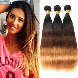 1b Straight Hair Australia - Malaysian Ombre Straight Virgin Hair 3 Bundles 100% Virgin Human Hair Weave Extensions 3 Tone #1b 4 30 Color Free Shipping