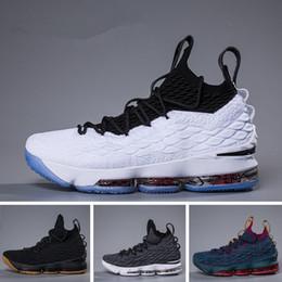 2018 Ashes Ghost Égalité florale Lebrons 15 Chaussures de basket-ball hommes Chaussures Lebron Sneaker 15s Chaussures de sport pour hommes James 15 us 7-12
