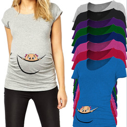 eb30982364b9c Funny Maternity Tops Cotton Baby Peeking Out T Shirts for Pregnant Women  O-neck Tees Summer Pregnancy Clothes Maternity Clothing