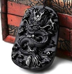 Carved Jade Red Pendants Australia - 100% NATURAL OBSIDIAN CRYSTAL PENDANT CARVING Dragon pendant 0335