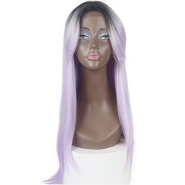 $enCountryForm.capitalKeyWord UK - Cheap Synthetic lace front wig Long Silky Straight L part ombre #1B Purple hair glueless heat resistant synthetic wigs for black women