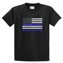 Tall Tee Men Canada - 2018 Summer Casual Man T Shirt Blue Lives Matter Mens Printed Tee Shirts and Tall Size Port and Co Men Streetwear T-Shirt