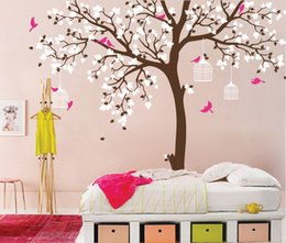 tattoo wall sticker Australia - Bird Cage Tree Nursery Room Decor Baby Room Wall Decal Large Tree With Birds Leaves Wall Stickers For Kids Room Wall Tattoo D371