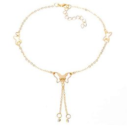 Steel Lock Ankle Canada - H:HYDE Butterfly Anklet Pendant Tassel Rhinestone Ankle Bracelet Beach Foot Chain For Women Girl Charms Barefoot Sandals Jewelry