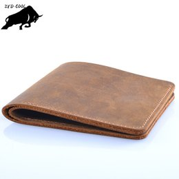 China ZYD-COOL Famous Brand Genuine Leather Men Wallets Handmade Men's Wallet Male Money Purses Coins Wallet With ID Card Holder suppliers