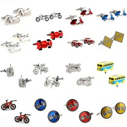Motor Bicycles Australia - Motor Bike Bicycle Sports Car Bus Tractor Tank Fire Fighting Truck Cufflink Jewelry Cuff Link 3 Pairs Big Promotion