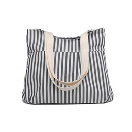 stripe canvas tote beach bags 2019 - New Women's Casual Handbag Girls Printing Canvas Shopping Bag Stripes Preppy Style Shoulder Tote Beach Bag Ladies L