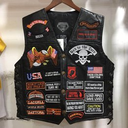 Punk vests for men online shopping - Embroidery Leather Vest Cosplay costume Black Color Harley Motorcycle Rock Punk sleeveless Mayans MC Jacket Waistcoat Print Letter for Men