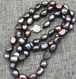 8mm rhinestone chain 2019 - New Rare 7-8MM black Akoya Cultured Pearl Baroque Necklace 17 inches discount 8mm rhinestone chain