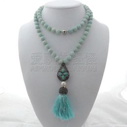 "necklaces pendants Australia - N012605 35"" Amazonite Necklace Pearl Tassel Pendant"