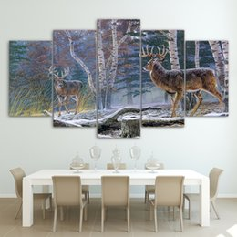 $enCountryForm.capitalKeyWord Australia - Modular Canvas Wall Art Pictures Frame 5 Pieces Wild Animal Deers In The Forest Painting Living Room Home Decor HD Prints Poster