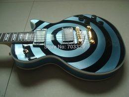 $enCountryForm.capitalKeyWord UK - Custom Shop Stolen Zakk Wylde bullseye Metallic Phelam Blue & Black Electric Guitar White Block Pearl Inlay Copy EMG Passive Pickups