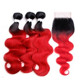 $enCountryForm.capitalKeyWord UK - Two Tone 1B Red Dark Root Ombre Body Wave Virgin Human Hair 3 Bundles With Free Parting 4x4 Lace Top Closure 4Pcs Lot