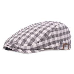 d03889ff703 HT1720 2018 New Summer Hats for Men Women Artist Painter Beret Vintage  Plaid Beret Cap Men Unisex Adjustable Ivy Cabbie Flat Cap