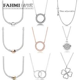 5759ebc405fd FAHMI 100% Plata de Ley 925 moda collar básico Rosa oro zirconio encanto  clavícula cadena forma de corazón collar de trébol redondo
