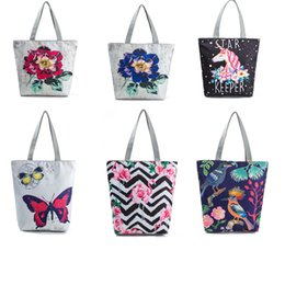 Wholesale 50pcs Women Casual Bag Canvas Butterfly Printed Shopping Bags Female Rope Shoulder Handbags