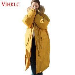 290b7dc91af0c 2019 NEW Yellow Large Fur Fashion Hooded Military Parka Plus Size Coat  Winter Quilted Jacket Women 2017 Warm X-long Zipper Outwear L190
