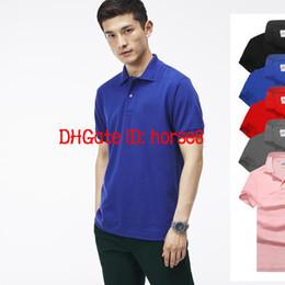 2018 Lujo caliente Nueva marca de cocodrilo Polo Hombres de manga corta camisas casuales Camiseta clásica sólida de hombre Plus Camisa Polo 801