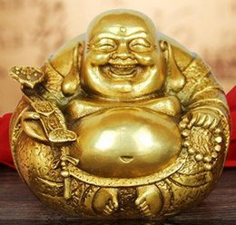 Antiques Chinese 26cm Certificate Natural Yellow Jade Happy Laugh Maitreya Buddha Bead Yuanbao
