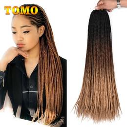 Bulk Hair Braids NZ - TOMO Crochet braids 24 inch box braid 22 Roots pack Ombre Synthetic Braiding Hair extensions For Black Woman Kanekalon Fiber Bulk braid
