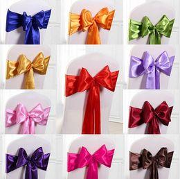 $enCountryForm.capitalKeyWord Australia - Wedding Chair Cover Sash Bow Tie Ribbon Decoration Wedding Party Supplies 16 Color for Choose c176