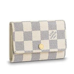 Cotton Key Australia - 2019 N61745 6 KEY HOLDER Grid pattern white Real Caviar Lambskin Chain Flap Bag LONG CHAIN WALLETS KEY CARD HOLDERS PURSE CLUTCHES EVENING