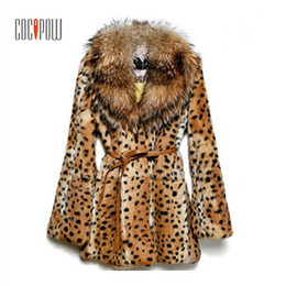 covered belts NZ - Women Leopard Print Faux Fur Coat Raccoon Fur Collar Belt Covered Button Fashion 2018 Winter Warm Long Casual Jacket Plus Size