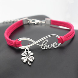 $enCountryForm.capitalKeyWord NZ - Wholsale Cheap Punk Infinity Love Four Leaf Clover Plant Flower Pendant Bracelets Vintage Rose Red Leather Suede Unisex Jewelry Dorpshipping