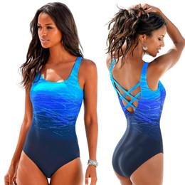 2fe950591b2d0 Gradient One Piece Swimsuit Women Vintage Swimwear Criss Cross Back  Monokini Blue Bath Suit 2018 Beach Wear Maillot De Bain