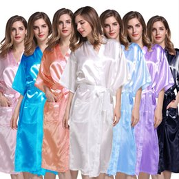 Chinese  Women Solid Long Pajamas Summer Silk Kimono Robe for Bridesmaids Wedding Party Night Gown Home Sleepwear Clothing 13 Colors WX9-624 manufacturers