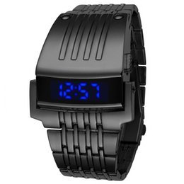 Chinese  Men Led Watch Blue Light Robot Stainless Steel Wristwatch Man Digital LED Military Iron Black Knight Big Face Dropship B108 manufacturers
